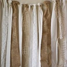 This would look nice as a photo back drop! Carissa Miss: diy burlap and lace garland using the David Tutera Casual Elegance Collection of DIY bridal and wedding decor, crafts and accessories Burlap Garland, Burlap Lace, Ribbon Garland, Fabric Garland, Burlap Curtains, Burlap Decorations, Burlap Bunting, Hessian, Burlap Backdrop