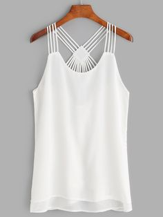 Shop White Strappy Back Layered Chiffon Cami Top online. SheIn offers White Strappy Back Layered Chiffon Cami Top & more to fit your fashionable needs. Look Fashion, Fashion News, Fashion Outfits, Fashion Black, Girl Fashion, Fashion Trends, Chiffon Cami Tops, Cropped Tank Top, Camisole Top