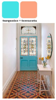 Victorian tiles and stained glass Hallway Mirror, Tiled Hallway, Blue Hallway, Door Entryway, Victorian Tiles, Victorian Hallway, Victorian Terrace, Interior And Exterior, Interior Design
