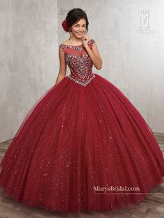 Beaded Illusion Quinceanera Dress by Mary's Bridal Beloving 4805