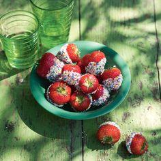 Wittechoco-aardbeien met discodip