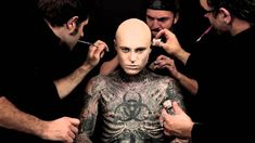 Backstage shot for a commercial for L'Oreal with Zombie Boy. Pretty cool transformation/cover up.