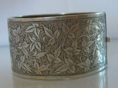 Victorian Sterling Bracelet Engraved Silver 1800s Antique Jewelry