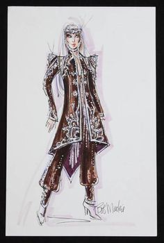 "Felt pen on paper, design sketch of a Cher costume proposed for her 2002 through 2005 Farewell Tour, signed ""Bob Mackie."" 17 by 11 inches. Sold by auction. Cher Costume, King Costume, Dress Sketches, Fashion Sketches, Fashion Illustrations, Fashion Sketchbook, Fashion Art, Fashion Outfits, Fashion Design"