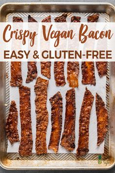 Crispy Vegan Bacon (Easy & Gluten-Free) – Sweet Simple Vegan This vegan bacon is not only crispy and smoky, but it is also gluten-free, oven-baked and lower in oil than most other vegan bacons on the market! Breakfast Plate, Bacon Breakfast, Vegan Breakfast Recipes, Bacon Recipes, Vegan Recipes, Carrot Bacon Recipe, Vegan Food, Sin Gluten, Lard