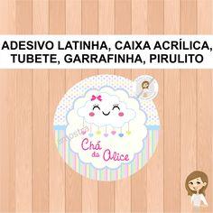 Adesivo personalizado para latinha, pirulito, garrafinha, tubete e caixa acrílica. Medidas dos adesivos Latinha e Pirulito 5x5cm Garrafinha 4x5,5cm Tubete 4x6,5cm Caixa acrílica 4,8x4,8cm - Impressão papel fotográfico adesivo; - Envio recortado; - Impressão de alta qualidade; - Envia... Happy Birthday Baby, Diy And Crafts, Alice, Baby Shower, Personalized Stickers, Acrylic Box, Lollipop Candy, Tin Cans, Magick