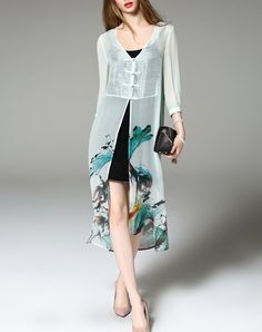 Green Floral Print Silk Two Pieces Midi Dress, Green, ZERACO | VIPme