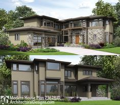 Architectural Designs Modern House Plan 23628JD gives you bonus space over the garage. Want less, check out 23633JD. And if you have a rear sloping lot plan 23632JD. Ready when you are. Where do YOU want to build?