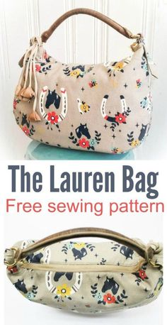 Free purse sewing pattern. The Lauren purse is simple to make using just a yard of fabric. Free handbag sewing pattern.:
