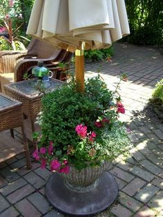 DIY outdoor umbrella stand/planter
