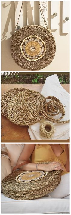 El método definitivo para hacerte el bolso del verano!!! Este capazo redondo, hecho a partir de salvamanteles de fibra, cosido con cuerda de esparto o cáñamo y decorado, con estilo boho es perfecto!!! Tutorial completo y vídeo en el blog. También pedidos. Rope Crafts, Diy And Crafts, Boho Room, Craft Bags, Sisal, Estilo Boho, Crochet Handbags, Denim Bag, Love Crochet