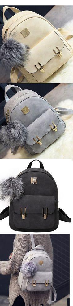 Ladies College School Bag Daypacks With Metal Lock Match Backpack Purses Bagail.com
