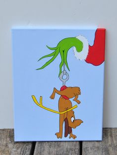 The Grinch and Max Canvas Painting Wall Art Playroom Artwork Bedroom Decor Kids Christmas art