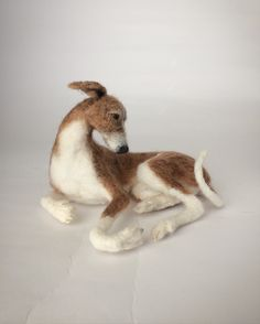 Needle felted Whippet, dog sculpture