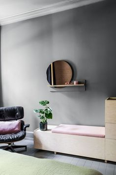 Apartment living has never looked so chic! Step inside this colourful city apartment and discover how this large family makes it work Apartment Interior, Apartment Living, Living Room, Floating Nightstand, Floating Shelves, Design Studio, House Design, Bench With Storage, Modern Kitchen Design