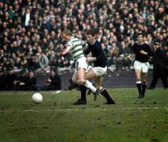 Dundee 1 Celtic 2 in March 1970 at Hampden Park. Jimmy Johnstone runs with the ball in the Scottish Cup Semi Final.