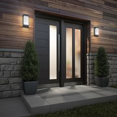 Take a look at this fantastic garage door styles - what an original design and style Modern Entrance Door, Modern Front Door, Front Door Design, House Entrance, Front Doors, Black Entry Doors, Modern Exterior Lighting, Modern Exterior Doors, Exterior Design