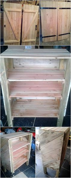 Straightly have a look at this innovative pallet cabinet design that has been all finished with the crafting of the wood pallet material. This cabinet furniture setup has been put into the divisions of the shelving units where you can even make it act as the storage box for you.