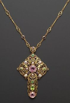 Arts & Crafts Gem-set Pendant Necklace, F.G. Hale, bezel-set with pink topaz, peridot, purple sapphire and freshwater pearls, suspended from fancy and trace link chain, gold mount, pendant lg. 3 and chain lg. 30 in., signed.