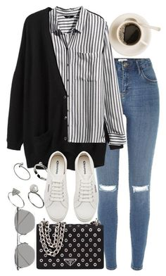 A fashion look from August 2016 featuring striped shirt, v neck tops and ripped jeans. Browse and shop related looks. Mode Outfits, Trendy Outfits, Fashion Outfits, Fashion Tips, Fashion Hacks, Fashion Bloggers, Fashion Trends, Look Fashion, Korean Fashion