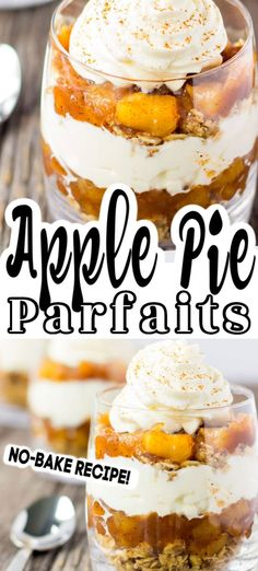 These No-Bake Apple Pie Parfaits taste very much like real apple pie dessert, yet this recipe is no-bake and served in a cup. So simple to make, individual servings, not too heavy and full of incredible flavour! Cheap Dessert Recipes, Fancy Desserts, Dinner Recipes, Apple Recipes, Baking Recipes, Vegan Recipes, Flan, Baked Apple Dessert, Brownies