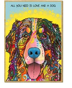 "Bernese Dog Wood Magnet, All you need is love and a dog 2.5"" x 3.5"" x 1/8"" thick - featuring the artwork of Dean Russo by TheCarolinaTrader on Etsy"
