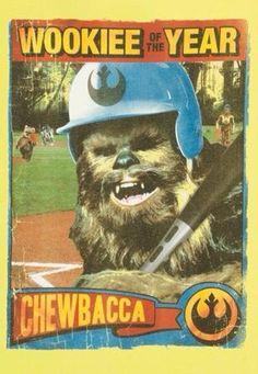 Chewbacca Wookiee of the Year - Star Wars baseball card spoof