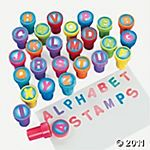 Alphabet stamps for party favors for a Super Why theme party