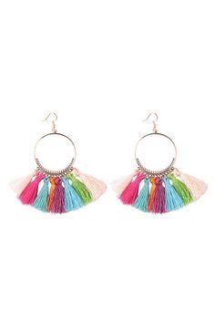 Cercei cu ciucuri multicolori Drop Earrings, Metal, Jewelry, Fashion, Moda, Bijoux, Drop Earring, Metals, Jewlery