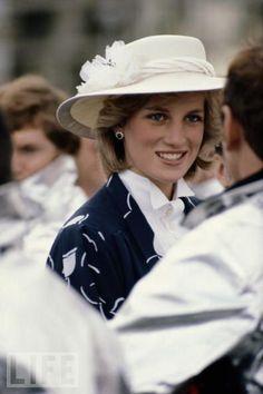 April 19, 1983: Princess Diana meeting firemen during a visit to the Manukau Fire Department in Manukau, New Zealand.