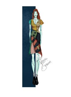 Sally (The nightmare before Christmas) by Laura Tessaris  #fashionsketch #lauratessaris #halloween