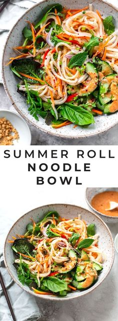 Fresh Summer Roll Noodle Bowl: Healthy rice noodle salad with crisp vegetables, herbs and a spicy, tangy-sweet almond butter and lime dressing. Vegetarian Salad Recipes, Vegetarian Dinners, Vegan Vegetarian, Asian Recipes, Beef Recipes, Soup Recipes, Chicken Recipes, Broccoli Recipes, Noodle Recipes