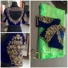 Silk Sarees with maggam work blouses. To order pls whatsapp on 9573737490 Silk Saree Blouse Designs, Bridal Blouse Designs, Blouse Neck Designs, Blouse Patterns, Blouse Styles, Floral Blouse, Dress Designs, Silk Sarees, Maggam Work Designs