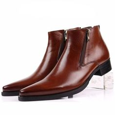 New Fashion Mens leather Ankle boots Formal shoes Black or Brown or Blue size 11 Mens Leather Ankle Boots, Mens Zipper Boots, Mens Shoes Boots, Leather Men, Men's Shoes, Dress Shoes, Best Mens Fashion, Fashion Vest, Moda Masculina