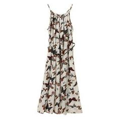 Straps Butterfly Print Longline Floral Dress   pariscoming