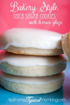 Kneaders Bakery Sugar Cookies Recipe with awesome Lemon Glaze! These are perfectly thick and fluffy Bakery Style Sugar Cookies and the glaze is perfect and hardens so you can stack the cookies. From Tips From a Typical Mom.