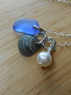 Sea Glass Necklace - Beach Glass Jewelry - Beach Combin via Etsy