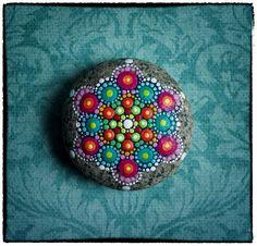 Elspeth McLean - Jewel Drop Mandala Painted Stone- Princess Jewel