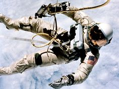 Lt.-Col. Ed White became the first American to spacewalk on June 3, 1965. He was aboard the outside the Gemini IV spacecraft. White was secured to the spacecraft by a 7.6-metre umbilical line and tether wrapped in gold tape.