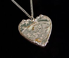Broken China Jewelry Heart Pendant teal English transferware, ivy design