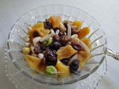 This recipe of soaked rather than stewed dried fruit was found in the 2002 cookbook, Mediterranean Street Food. Almost all of the long preparation time is the PASSIVE time needed for the fruits And nuts to soak.