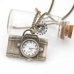 New Item Alert! Bronze Vintage Style Camera Analog Clock Pocket Watch Necklace   bellagraciela