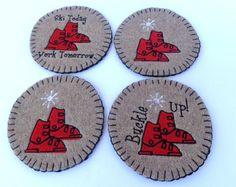 Set of 4 Ski Boot coasters mug rug  upcycled from by SewFreshAgain
