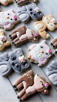 Royal Icing Cookies, Sugar Cookies, Iced Cookies, Owl Cookies, Crazy Cookies, Cute Cookies, Deco Baby Shower, Baby Shower Cookies, Cookie Designs