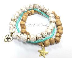Wood Starfish Bracelet Bracelet Set Beach by RandRsWristCandy