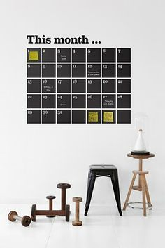 Chalkboard calendar decal by Ferm Living. Just the perfect proportion to frame a yellow post-it note for a very special date.