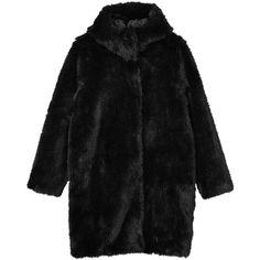 Monki Safira fake fur coat (€50) ❤ liked on Polyvore featuring outerwear, coats, jackets, black, coats & jackets, night sky, faux fur coats, long coat, fake fur coats and long faux fur coat