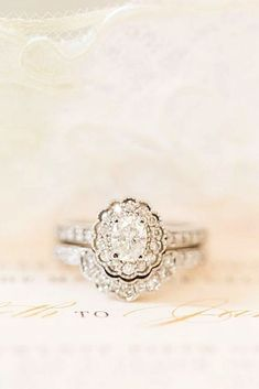 Gorgeous engagement ring and wedding band. Vintage-inspired engagement ring // Katelyn James Photography don't necessarily love the shadow wedding band but love the engagement ring Wedding Rings Solitaire, Halo Engagement Rings, Vintage Engagement Rings, Wedding Engagement, Wedding Bands, Halo Rings, Opal Diamond Engagement Ring, Promise Rings, Beautiful Wedding Rings