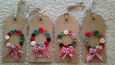 Handmade Button Wreath Christmas Tags by Twiddliebits on Etsy