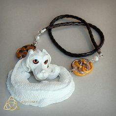 Falkor. Luck dragon necklace.Neverending story.White pearl dragon.Auryn.Pearls.The Childlike Empress.Atreyu.OOAK.Fantasy.Unique.Handmade.